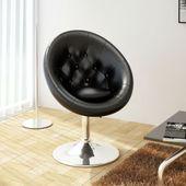 Krzesło klubowe ze skóry syntetycznej, czarne