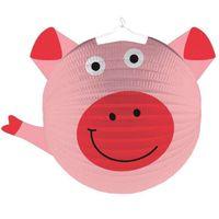 LAMPION papierowy ŚWINKA świnia FARMA party różowy