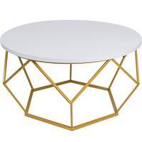 Stolik kawowy geometryczny Diament w kolorze złoto-białym, śr. 70 cm