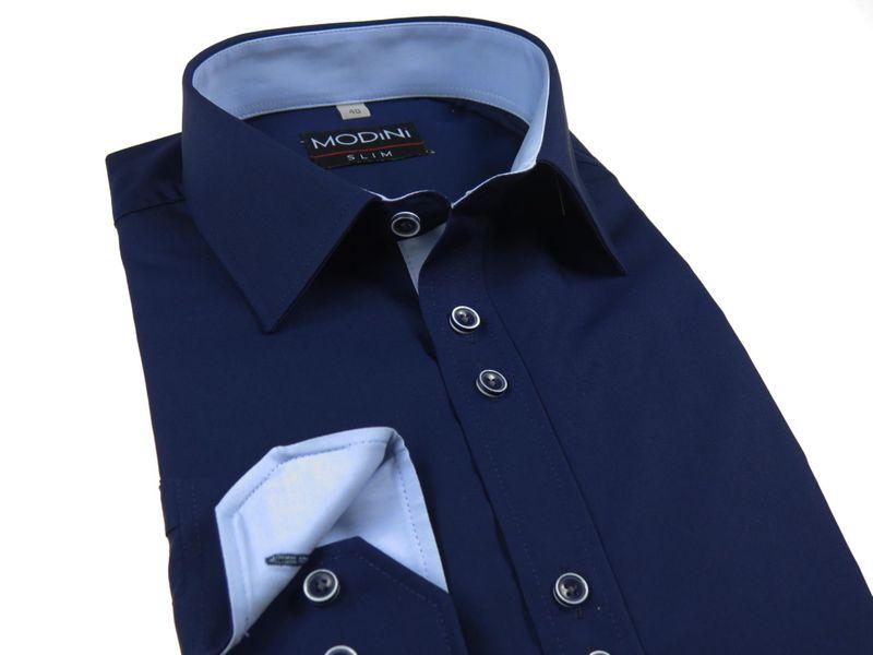 353aefb4e0e4 Granatowa koszula męska Modini A4 Rozmiar koszuli i fason - 188-194   42-