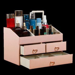 Skórzany Organizer Na Biżuterię - Z Szufladami Różowy jasny 30 20 20