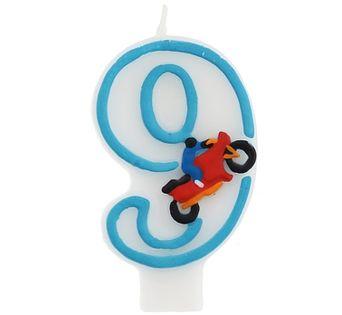 Świeczka 9 z motorem Urodziny cyfry 9, 4, 5, 7 ,8