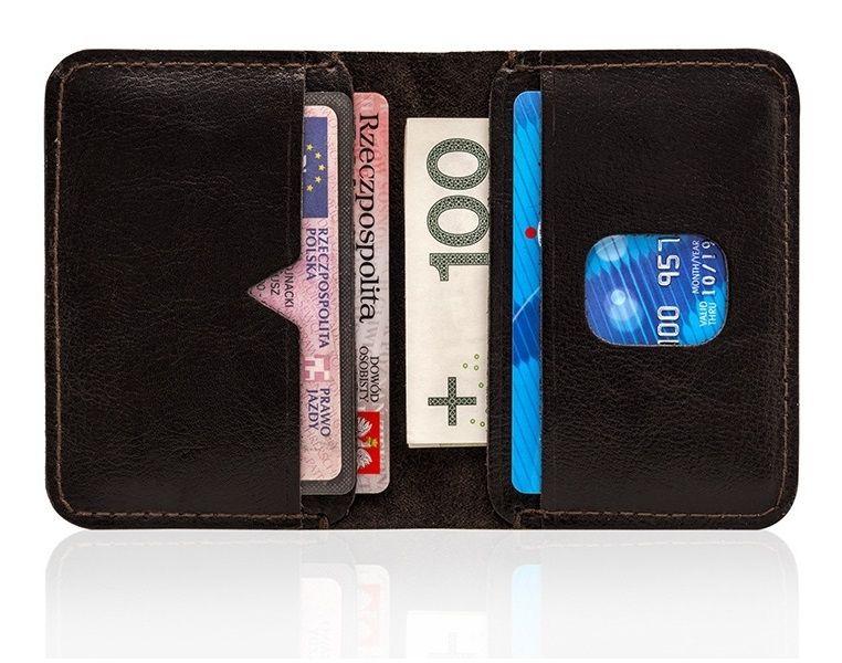 1994968fd1baf ... Cienki brązowy skórzany męski portfel solier SW11 slim zdjęcie 2 ...