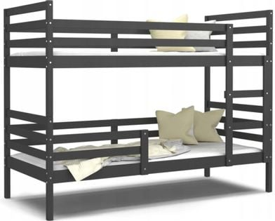 Łóżko piętrowe JACEK 190x80 + materace - szare