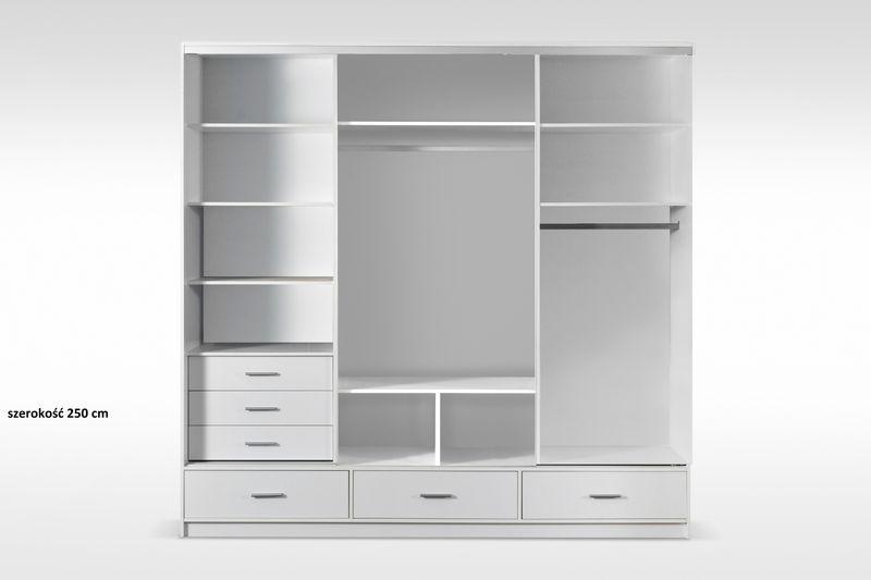 szafa przesuwna 250cm biała garderoba lustro połysk półki szuflady zdjęcie 2