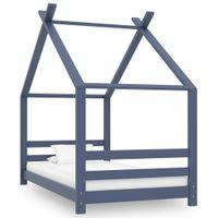 Rama łóżka dziecięcego szara lite drewno sosnowe 80x160cm VidaXL