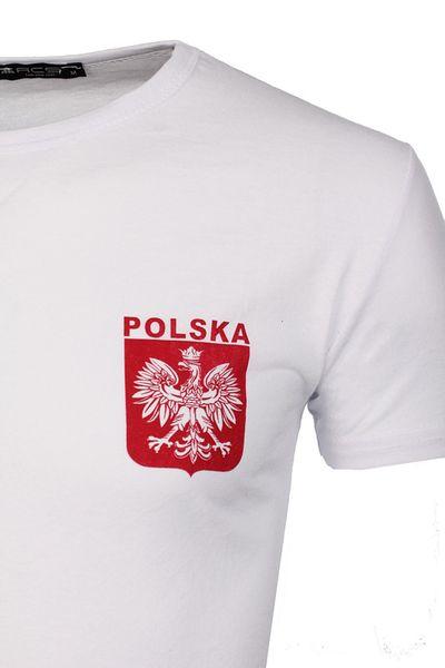045748b61a6f Koszulka Patriotyczna T-Shirt Kibica z Godłem Polski od Neidio TS33 Biały M  zdjęcie 3