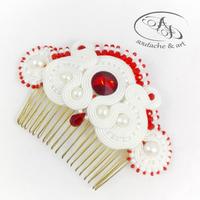 Grzebień ślubny sutasz soutache z perłami Czerwień Biel