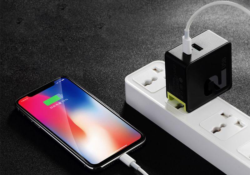 ROCK Ładowarka USB-C Quick Charge + KABEL IPHONE 7 8 X iPad zdjęcie 2