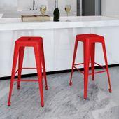 Kwadratowe stołki barowe, 2 szt., czerwone