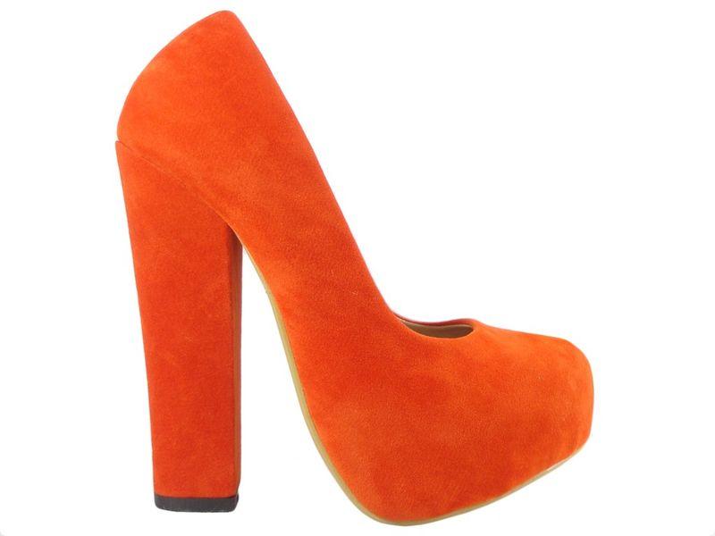 Czerwone szpilki na słupku buty zamszowe 40 zdjęcie 1