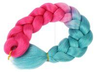 Włosy syntetyczne kolorowe dredy warkocze róż turkus