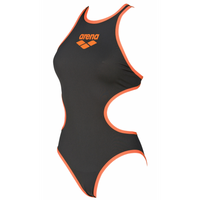 ARENA STRÓJ WOMEN ARENA ONE BIGLOGO ONE PIECE DEEP GREY-FLUO ORANGE 36
