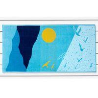 DecoKing Ręcznik plażowy bawełniany OCEAN 90X180 Błękit