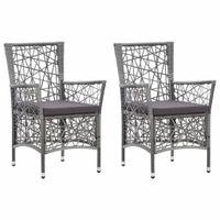 Krzesła ogrodowe z poduszkami, 2 szt., polirattanowe, szare