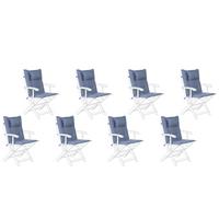Zestaw 8 Poduszek Na Krzesła Ogrodowe Niebieskie Maui