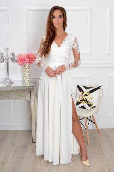 Zjawiskowa długa biała suknia sukienka koronkowa ślub wesele zdjęcie 3