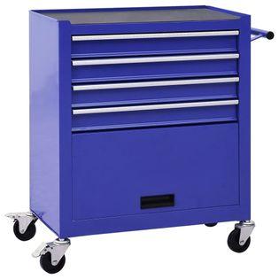 Wózek narzędziowy z 4 szufladami stalowy niebieski VidaXL