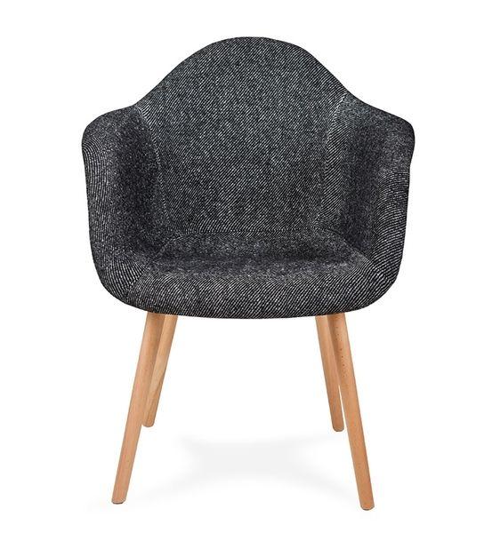 Fotel PLUSH czarna zebra - podstawa bukowa zdjęcie 1