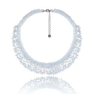 Dekoracyjny ślubny naszyjnik w stylu Glamour biały