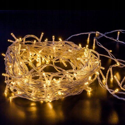 LAMPKI CHOINKOWE 200 LED 15m BIAŁE CIEPŁE 8 TRYBÓW silikonowy kabel na Arena.pl