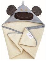 Ręcznik z kapturem Małpka Szara 3 sprouts