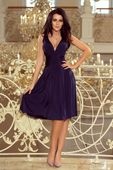 Rozkloszowana sukienka z dekoltem - Granatowy S