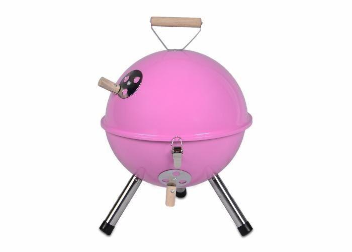 Grill ogrodowy węglowy okrągły, mini grill bbq kolor różowy zdjęcie 1
