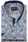 Koszula Męska Sefiro niebieska w kwiatki SLIM FIT na krótki rękaw K765 L 41 176/182