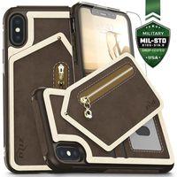 Zizo Nebula Wallet Case - Skórzane etui iPhone X z kieszeniami na karty + szkło na ekran (brąz)