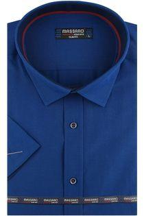 Koszula Męska Massaro gładka  chabrowa szafirowa z krótkim rękawem w kroju SLIM FIT N007 M 39 176/182