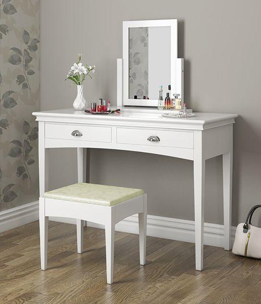 Toaletka Kosmetyczna Lustrem Biała Taboret Biurko 4646 zdjęcie 5