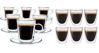 Szklanki z Podwójną Ścianką do Kawy Lungo 220ml i Coffee 235ml 12 szt