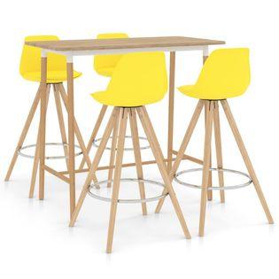 Lumarko 5-częściowy zestaw mebli barowych, żółty