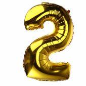 BALON foliowy 2 CYFRA 0-9 złota ogromna 100cm urodziny