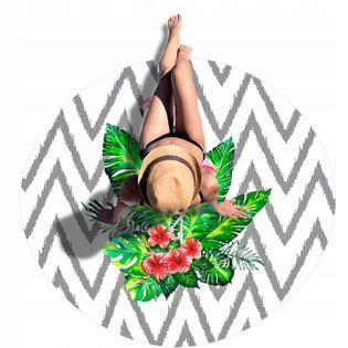 Ręcznik Plażowy Duży Flaming Okrągły Koc 150 cm