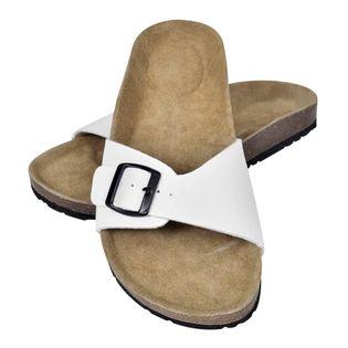 Sandały damskie z korkową podeszwą i 1 paskiem, białe, 37