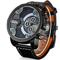 Zegarek męski Oulm 3130 wodoszczelny, czarny, czerwony, skórzany pasek