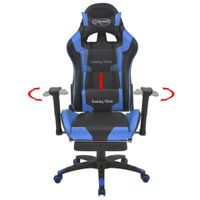 Fotel dla gracza podnóżek błękitna ekoskóra VidaXL