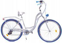 """Rower Dallas City Alu 28"""" 7spd - biały z niebieskim"""