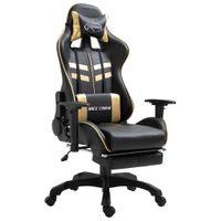 Fotel z podnóżkiem złoty sztuczna skóra VidaXL