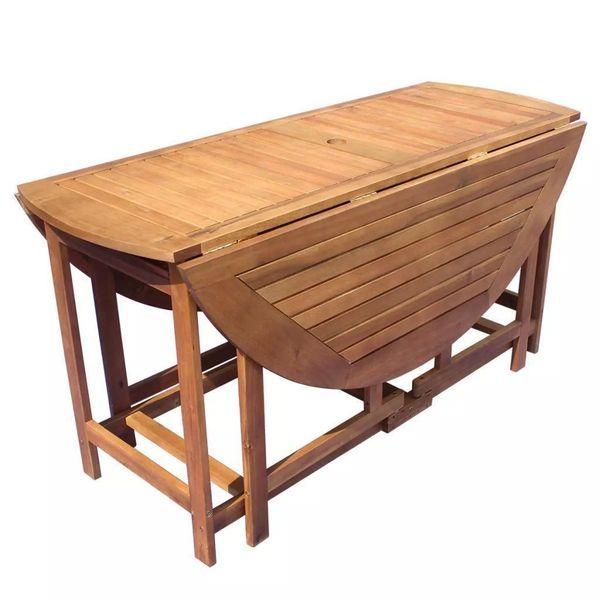 Meble Ogrodowe Drewniane Drewno Akacjowe Składane 9 Części Zestaw