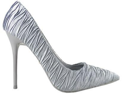 Atłasowe szare szpilki modne buty damskie 38