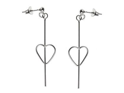 Eleganckie wiszące srebrne kolczyki celebrytki serca serduszka heart srebro 925 K1937