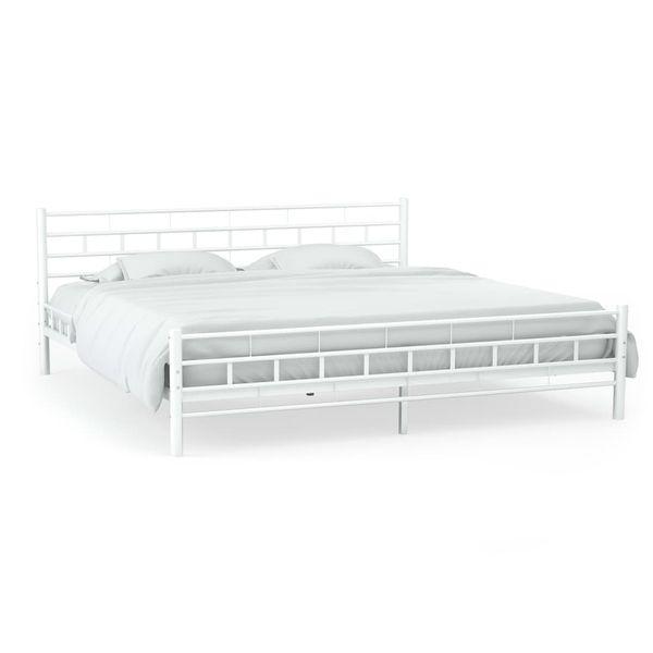 Metalowa Rama łóżka Ze Stelażem Z Listw 160x200 Cm Prostokąty Gxp 683114