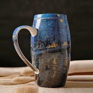 Kubek Ceramiczny - Z Pokrywką - DUŻY - Idealny Do Pracy - Na Prezent - Dla NIEJ I Dla NIEGO Niebieski 750ml