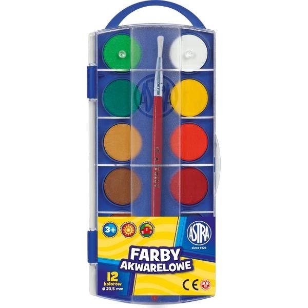 12 kolorów farby akwarelowe Astra + pędzelek zdjęcie 1
