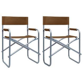 Lumarko Krzesła reżyserskie, 2 szt., stalowe, brązowe