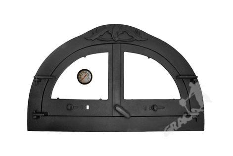 DRZWI C09 - 47X77 CM + TERMOMETR 0-500°C do pieca pizzy pizzeria żeliwne