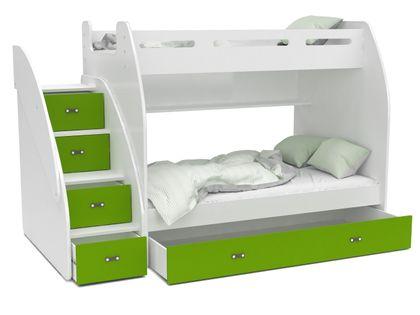 Łóżko piętrowe ZUZIA + materace + szuflada + schodki - zieleń